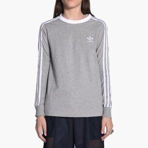 Adidas originals 3 stripe long sleeve tee grey